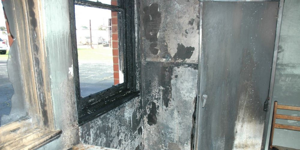 The damage from the fire.
