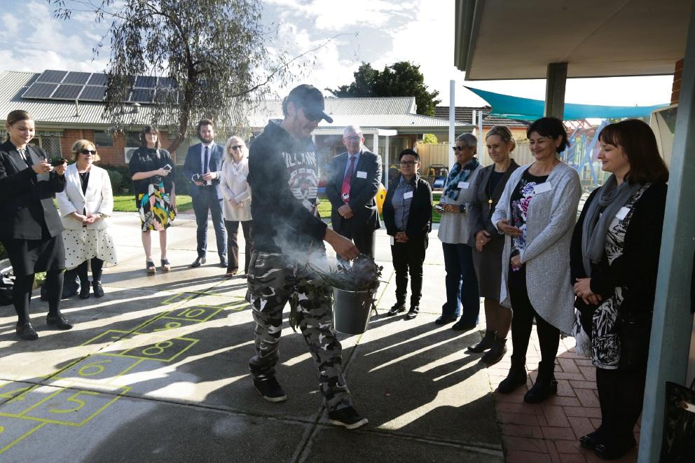 Leonard Riley performing smoking ceremony.
