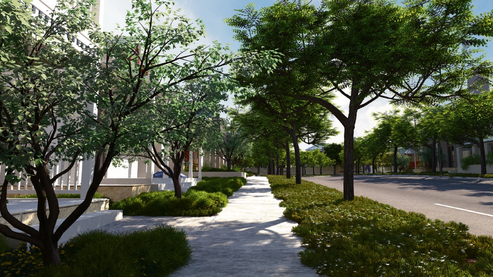 A computer generated image of one of the streetscapes in stage 1 at Jindee.