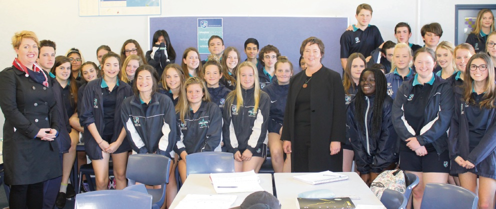Brand MHR Madeleine King with Safety Bay Senior High School students taking part in the Pathfinder Academic Excellence Program.