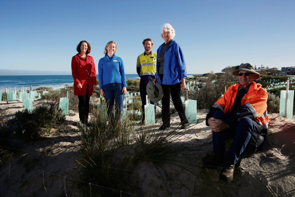 Cr Karen Caddy, Adeline Morrissey (Perth NRM), Tim McCabe (Natural Areas Trades Person), Rae Kolb and Walter Kolb, Stirling Natural Environment Coastcare project have just received a $48,980 grant to restore the foreshore coastline from Trigg to Scarborough. Picture: Andrew Ritchie