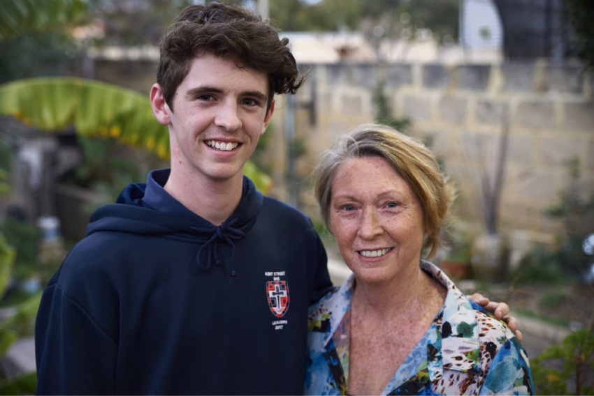 Hugh Atkinson and his mother Lee Westbook.