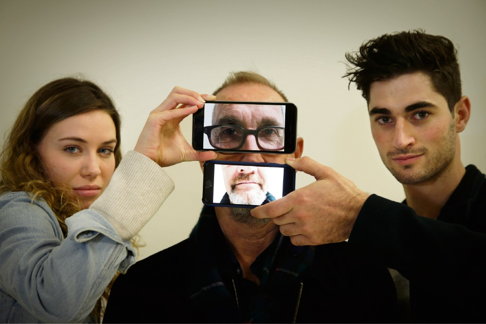 Director Andrew Lewis (centre) with acting students Audrey Blyde (Inglewood) and Kingsley O'Connor (Morley). Picture: Andrew Ritchie
