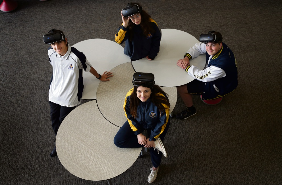 Goggle it: Wanneroo Secondary College students Ben Jones, Karinda Sinagra (back), Jessica Warry and Kyle Daniels. Picture: Martin Kennealey www.communitypix.com.au   d472068
