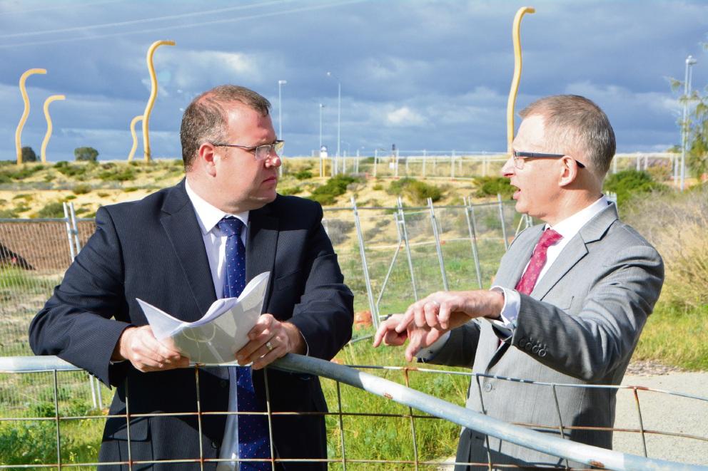 Ben Morton and  Paul Fletcher at the Murdoch Drive site.