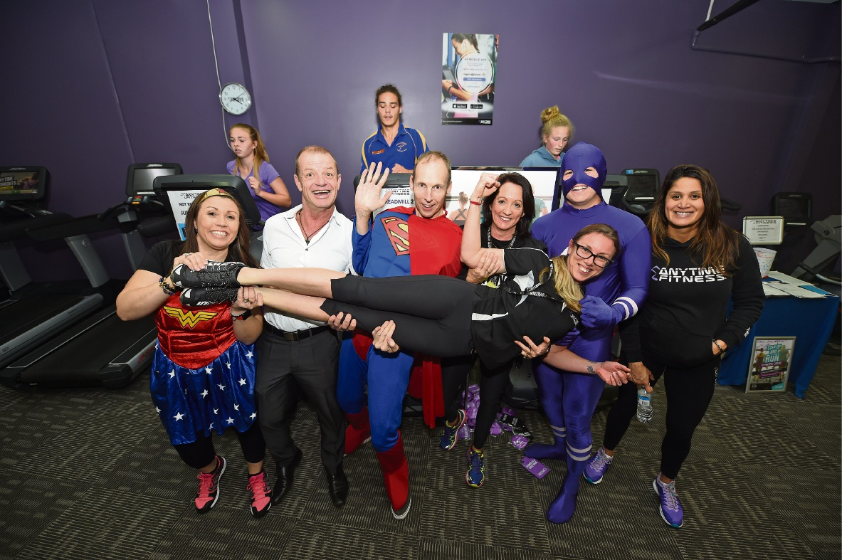 Karen Caruana, Cr Dave Shumacher, Tony Edwards, Anytime Fitness's Tanya Parsons, James Fenton, Martina Smith and Bianca MacLachlan (centre). Picture: Jon Hewson