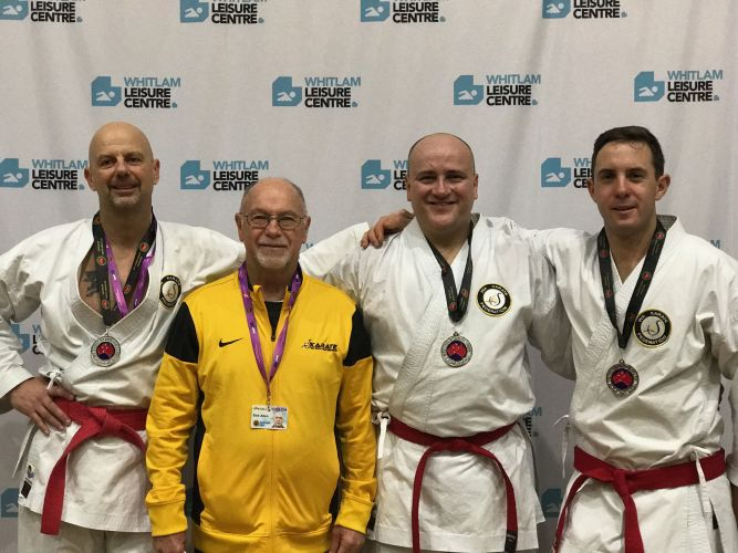 7 WA Men's Team Kata team and coach - from left: Tom Pettitt Sensei  Coach Bob Allen Theo Prinsloo Phil Salmon
