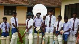 Howzat for some happy faces?  Children at Divitura Maha Vidyalya school in Galle district, Sri Lanka with the cricket gear donated by the Stirling Hawks Cricket Club.