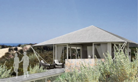 An artist's impression of a Pinky's Eco Retreat eco tent.