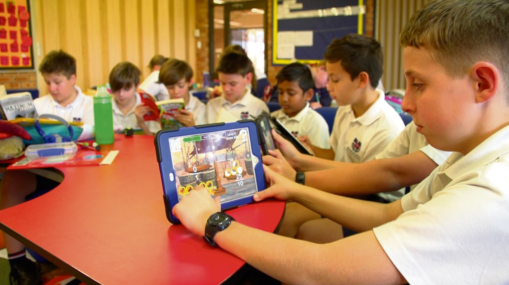 St Stephen's School Year 6 student Brayden Connor using the Abydos app.