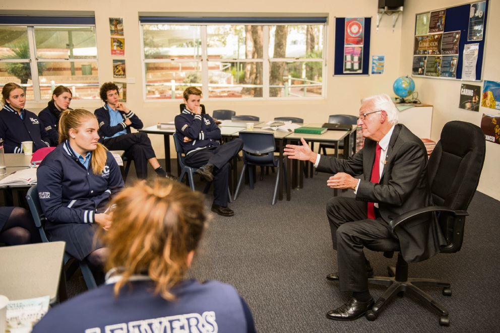 Kalamunda MLA Matthew Hughes answers questions from the class of Year 12 students in Politics and Law  at Helena College. Picture: Chris Jeffrey.