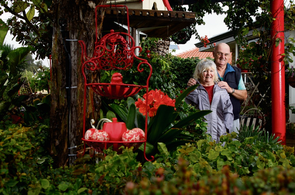 Aline and Brian French in their garden in Safety Bay. Picture: Marie Nirme
