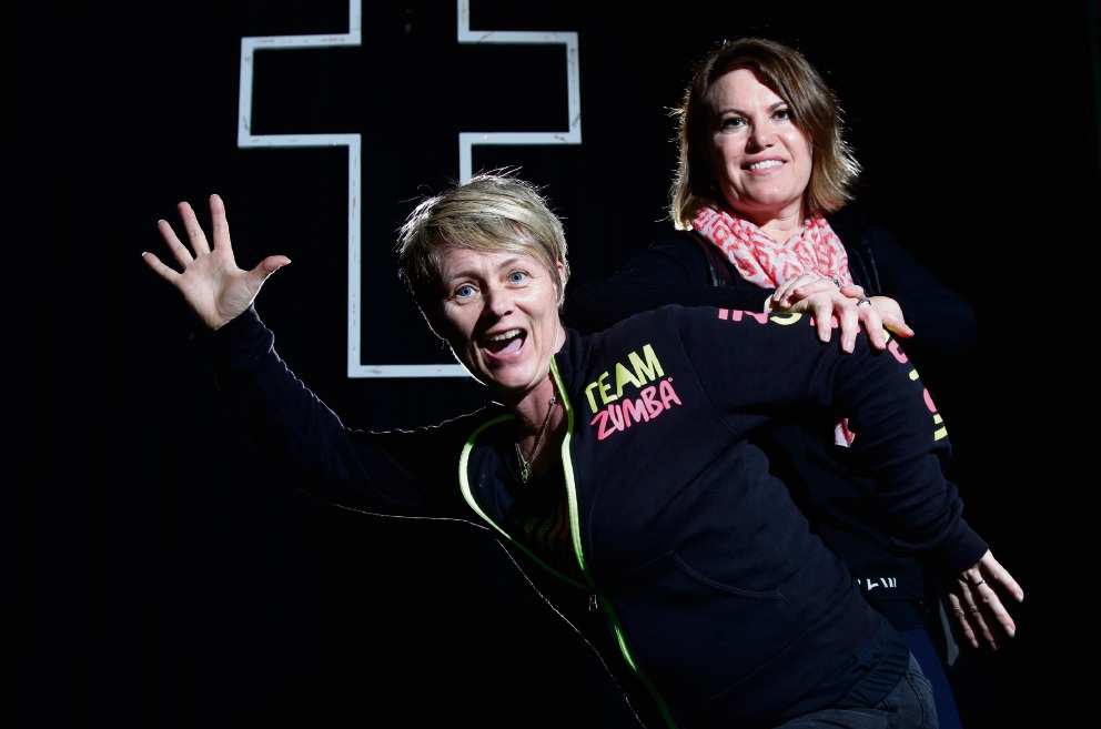 Zumba instructor Tracy Wilkes and Julie-Anne Moyle from C.R.E.W. Picture: Marie Nirme www.communitypix.com.au