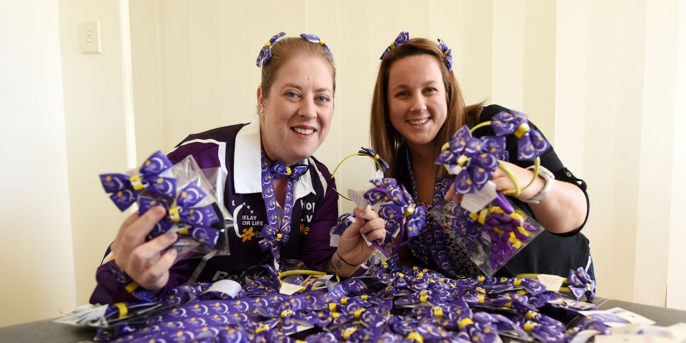 Natalie Dodds  and Danielle Rosina with the bows that they will be selling to raise funds during their Relay for Life campaign.Picture: Jon Hewson