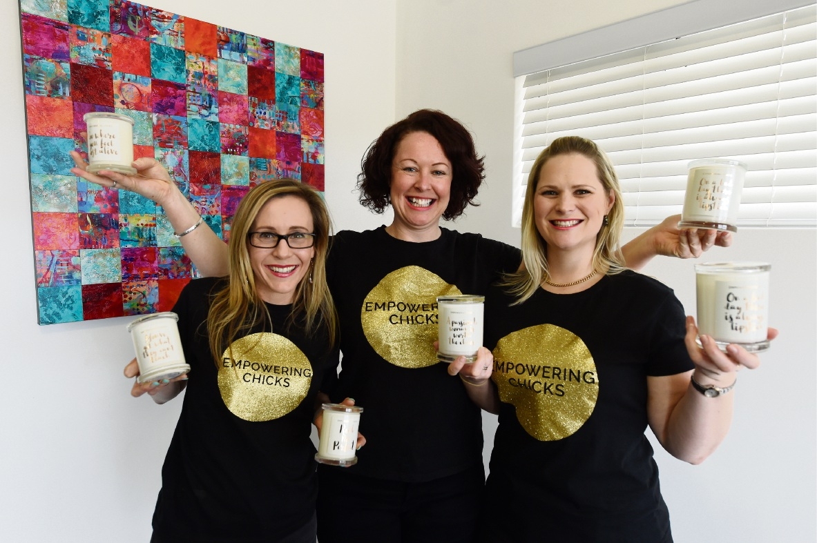 Priscilla Hogan, Louise Garland and Kate Lefroy are all about Empowering Chicks. They make and sell candles to help impoverished girls attend school in Uganda and Sierra Leone.
