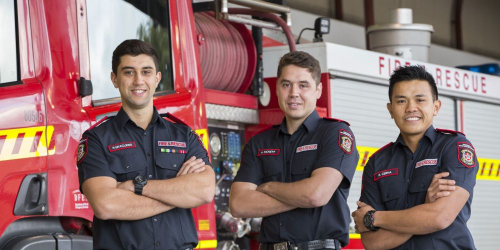 New firefighting graduates Paulo Eraclides , Alec Kickett and Richard Cerna. Picture:  Department of Fire and Emergency Services