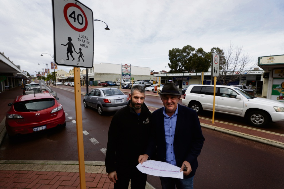 Luke Dimasi (deputy chairman of the MBA) with chairman  Mike De Rutyer have plans to make Eighth Avenue in Maylands a buzzing hub of pedestrian-friendly activities. Picture: Andrew Ritchie www.communitypix.com.au   d472356