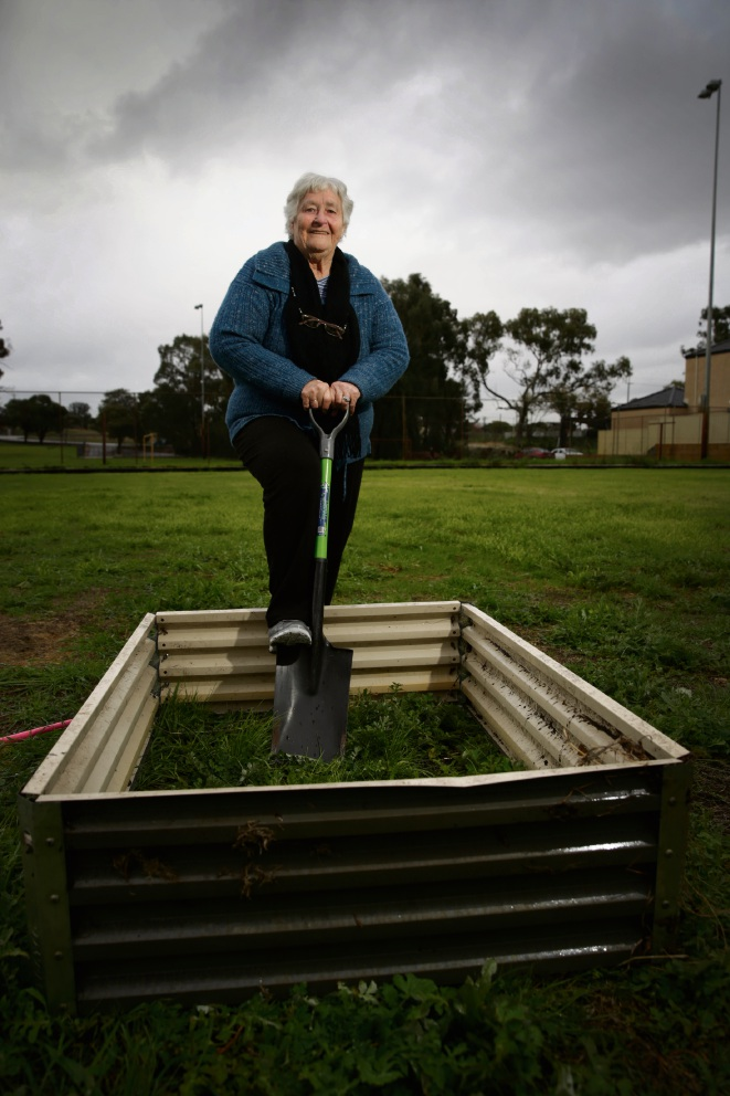 Bayswater City Community Safety Watch and Garden Education Inc chairwoman Pat Lim putting in the garden beds. Picture: Andrew Ritchie www.communitypix.com.au   d472530