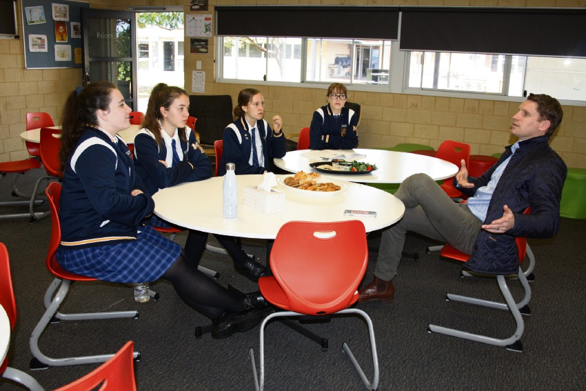 MHR Andrew Hastie takes questions from Year 12 Mandurah Baptist College students about Australia's political processes.