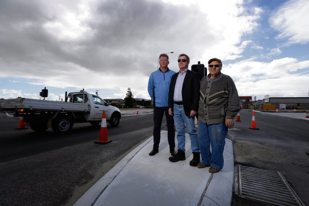 Brett Johnson (Turf Master), Bruce Potter (business/property owner) and Nick De Laurentiis (business owner) Businesses on Collier Road are concerned over the proposed name change to portions of Collier Road due to the NorthLink WA project. Picture: Andrew Ritchie