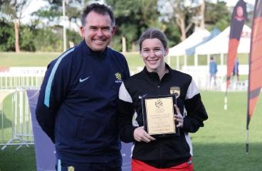 Miranda Templeman with national goalkeeper coach Tony Franken. Picture: Alyshia Razmovski