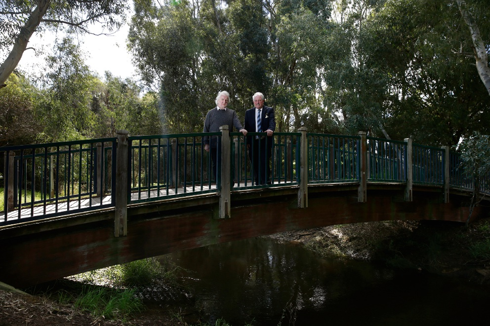 UWA Professor Peter Davies and Mayor Barry McKenna in the Eric Singleton Bird Sanctuary wetland, whose restoration has won three prestigious award. Picture: Andrew Ritchie www.communitypix.com.au   d472609