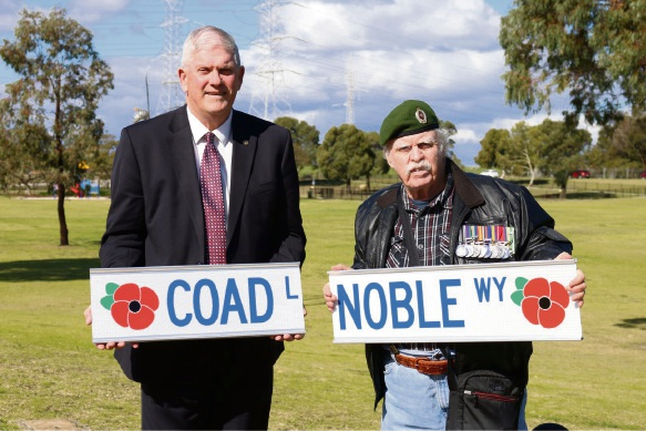 City of Cockburn Mayor Logan Howlett and Vietnam veteran Kevin Bovill, of Success, at Jan Hammond Park with the street names. Picture: Nadia Ucich
