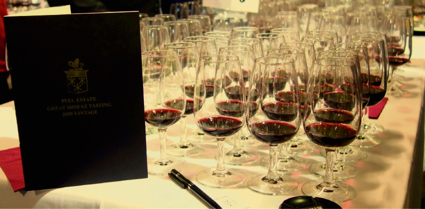 Shiraz glasses lined up for tasting and judging. Twenty six-year old wines will be showcased this year.