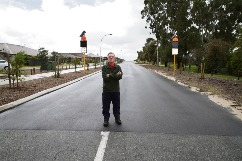 Clear and present danger: Landsdale  resident Terry Hall says this stretch of unmarked road is dangerous. Picture: Martin Kennealey