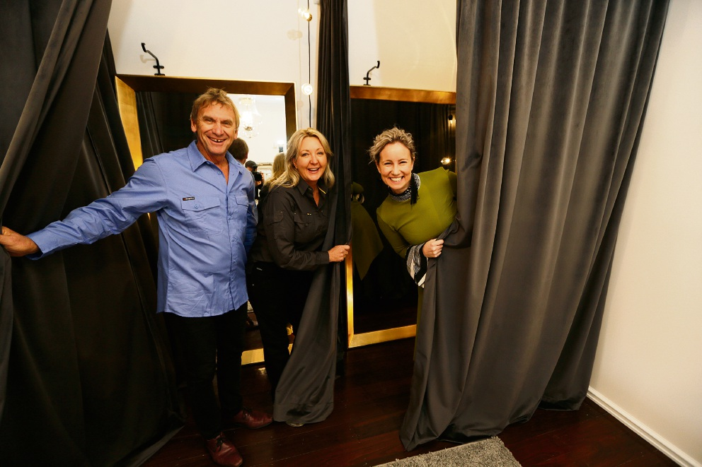 Kate Watts with Carole and Russell Bramston. Picture: Andrew Ritchie