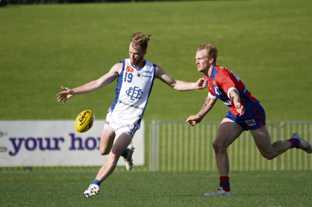East Fremantle's Miles Franklin avoids a tackle from West Perth's Kody Manning. Picture: Phil Elliott