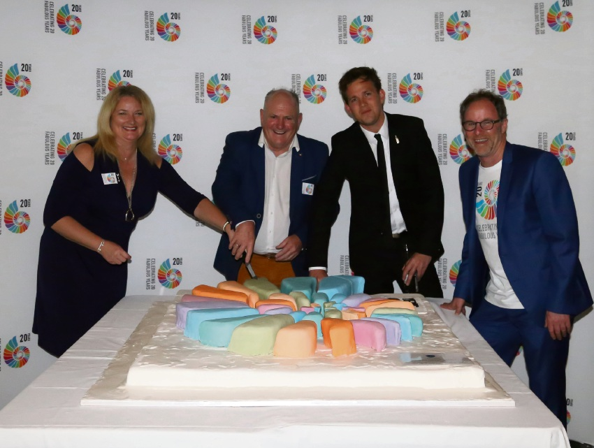 Cutting the anniversary cake: Mayor Marina Vergone, Peel Development Commission chairman Paul Fitzpatrick, centre chairman Rhys Williams and centre general manager Guy Boyce,