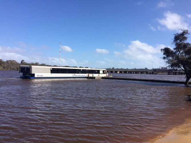 A Captain Cook cruises ferry was grounded due to high water levels at the Bayswater Paddlesport Club today. Picture: Bruce Hunt