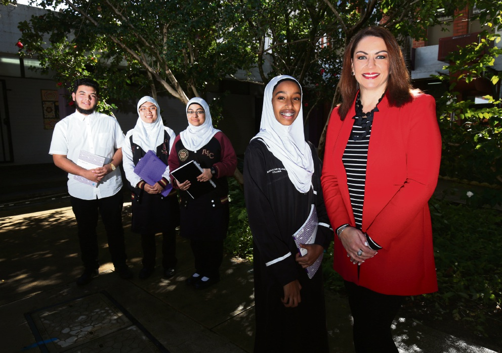 Australian Islamic College students Benaldy Merdi, Ziyanevite Aghniafasyanada, Raisa Anwar and Hala Salih with Rabia Siddique. Picture: Matt Jelonek d472497