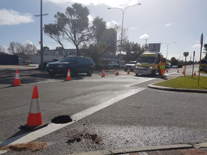 A pothole has turned into a sinkhole on Canning Highway in Mt Pleasant. Picture: Josh Zimmerman.