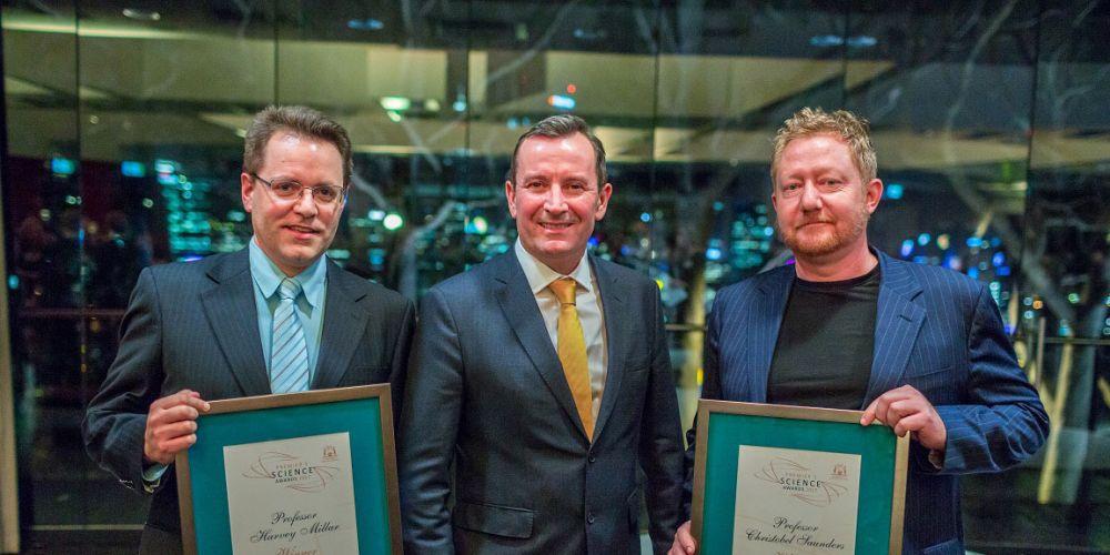 Professor Harvey Millar and Rene Van Meeuwen - representing Professor Christobel Saunders - joint winners of the 2017 Scientist of the Year  - with Premier Mark McGowan.