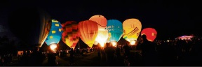 Balloons all aglow.