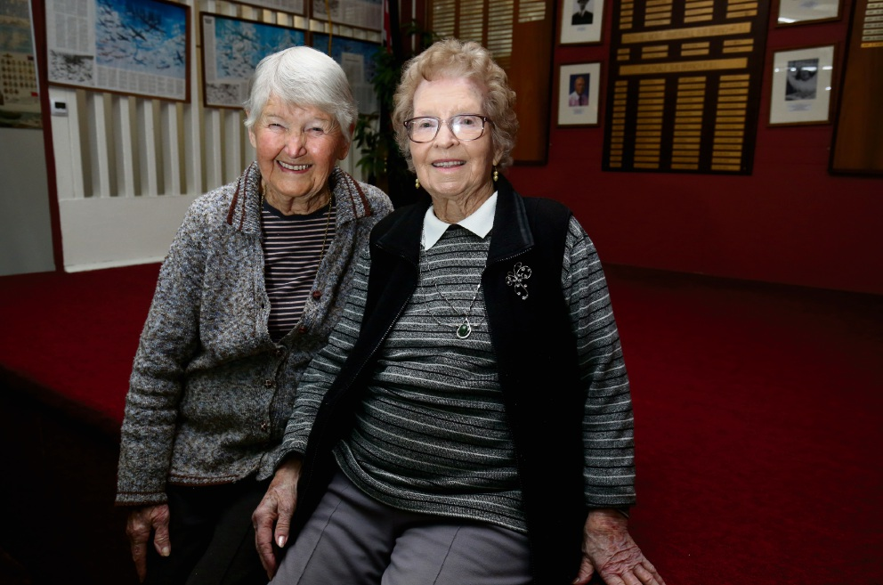 Maisie Kilgallon (right) celebrates her 99th birthday with friend Phyllis Worth.  Picture: Matt Jelonek d472554
