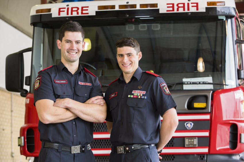 Firefightring graduates Peter McConkey and James Reece. Picture: Department of Fire and Emergency Services