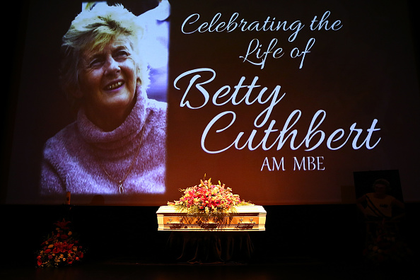 The coffin is seen on the stage during the funeral service for Betty Cuthbert at Mandurah Performing Arts Centre today. Picture: Paul Kane/Getty Images