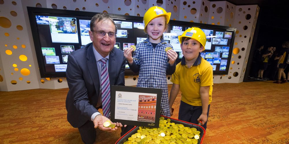 Scitech CEO Alan Brien with Pre-Primary students Rosie Crossley and Ben Mathews from Bassendean Primary School at the Lotteryswest Grant Presentation held at Scitech. Picture: Matt Jelonek