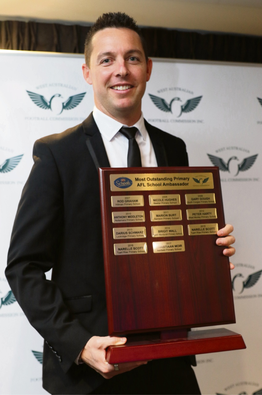 Ashfield Primary School principal Christiaan Moir won the Most Outstanding Primary AFL School Ambassador.