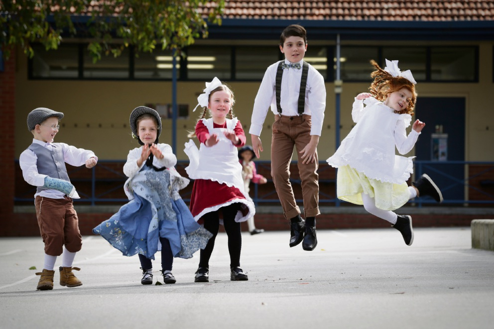 Ted Rammel, Peppa Wingham, Oriana Campbell, Benjamin Routledge and Ada Graham celebrated Mt Claremont Primary School's centenary by dressing up in 1917 costume. Picture: Andrew Ritchie www.communitypix.com.au d472306