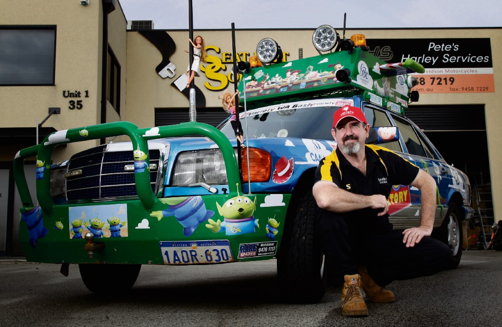Graham Martin is taking part in this years Variety Bash with his Toy Story themed 1985 Mercedes 500SE Picture: Marie Nirme www.communitypix.com.au d472529