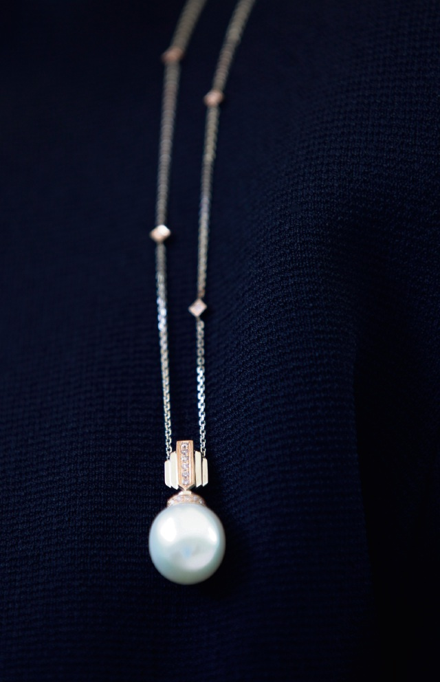 The Australian South Sea Pearl and Argyle pink diamond pendant handcrafted in 18ct white and rose gold, donated by Rohan Jewellery. Picture: Marie Nirme d472656