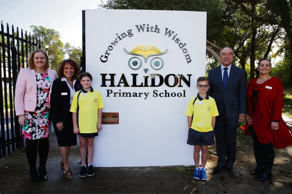 MLA Jessica Stojkovski, principal Helen Demiris, Eliza Burgess, Aven Drewett,  MP Ian Goodenough and Jodie Drewett (school board chair). Picture: Martin Kennealey