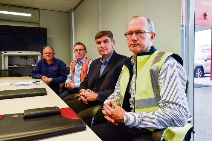 Local business operators voiced their discontent at a waste station planned for Welshpool: Dene Dethian, Brendan O'Reilly from Jason Windows, Gordon Lentz from Kent Removals & Storage and Richard Halbert from CSR.