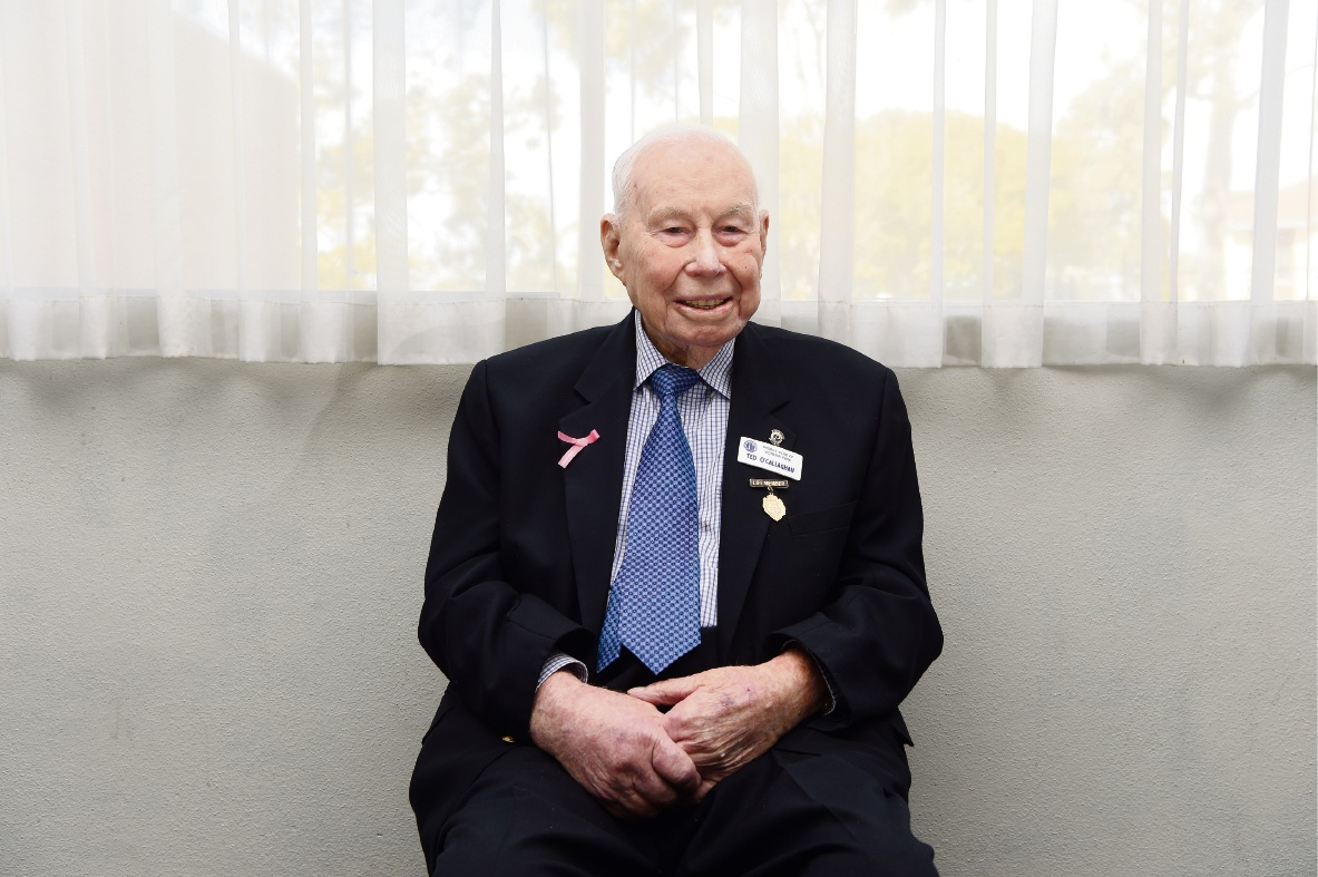 Ted O'Callaghan, who turned 101 recently, shared his memories of the Perth Football Club. Picture: Jon Hewson www.communitypix.com.au   d472732
