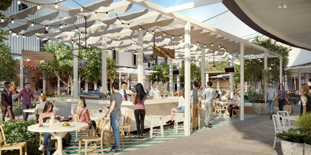 An artist's impression of the new dining precinct at Whitford City.
