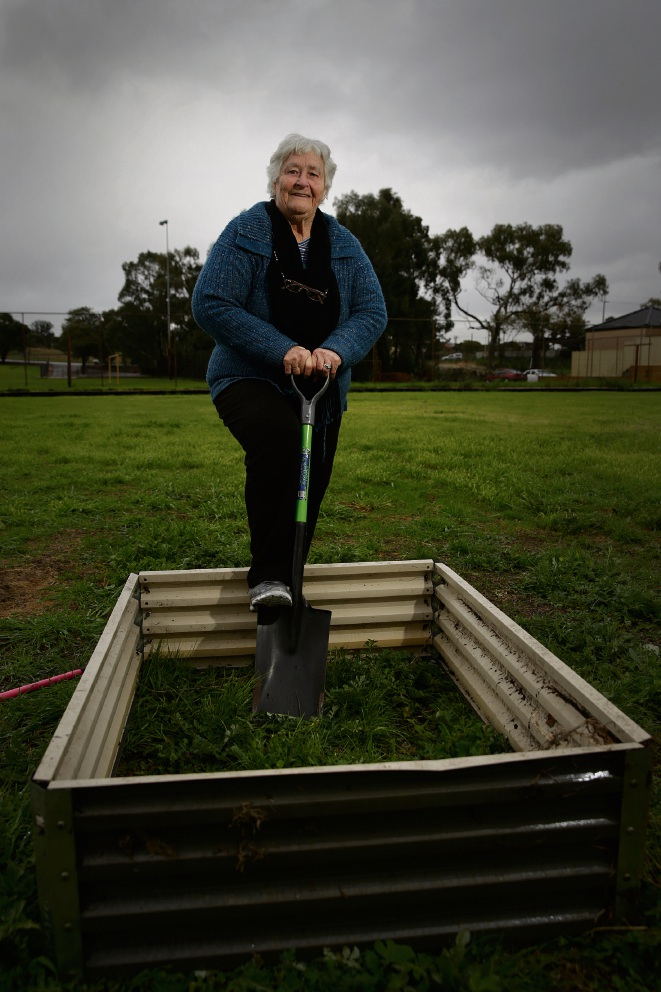 Bayswater City Community Safety Watch and Garden Education Inc chairwoman Pat Lim putting in the garden beds. The group moved their community garden to the Bayswater Bowling and Recreation Club. Picture: Andrew Ritchie www.communitypix.com.au d472530